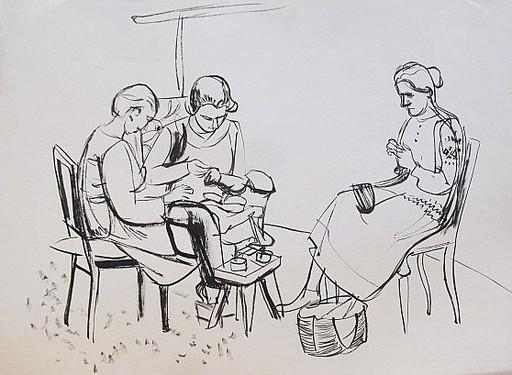 Erich HARTMANN - Dibujo Acuarela - #19927: 3 Frauen bei der Handarbeit.