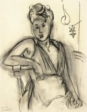 Henri MATISSE - Drawing-Watercolor - Femme assise (Michaela)