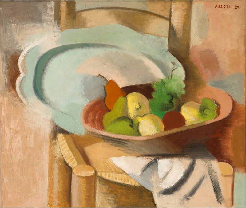 André LHOTE - Pintura - Corbeille de fruits et plat sur une chaise paillée