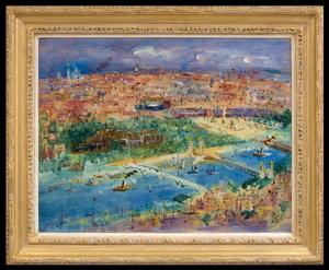 Jean DUFY - Painting - Vue de Paris