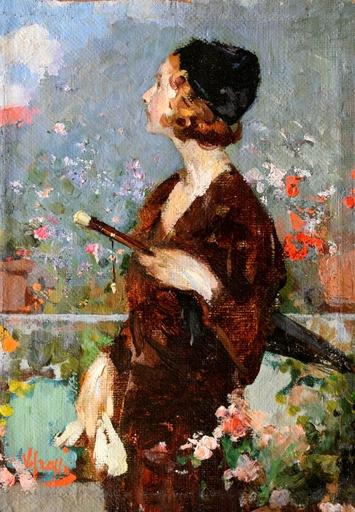 Vincenzo IROLLI - Pintura - donna con ombrellino