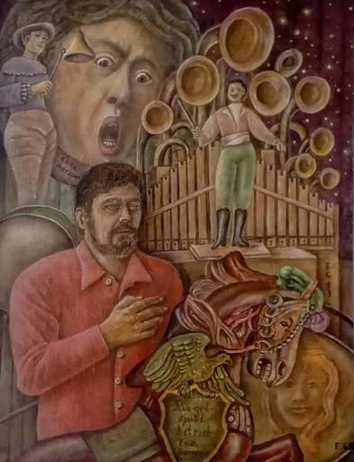 Erich GARGERLE - Gemälde - Portrait eines Ringelspielbesitzers