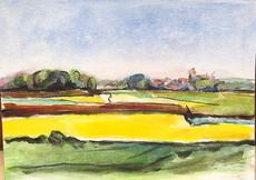 Margot FISCHER-DIETZ - Drawing-Watercolor - Landschaft mit Rapsfeldern