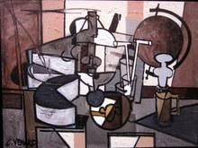 Claude VENARD - Peinture - Nature Morte à la lampe pigeon et mappemonde