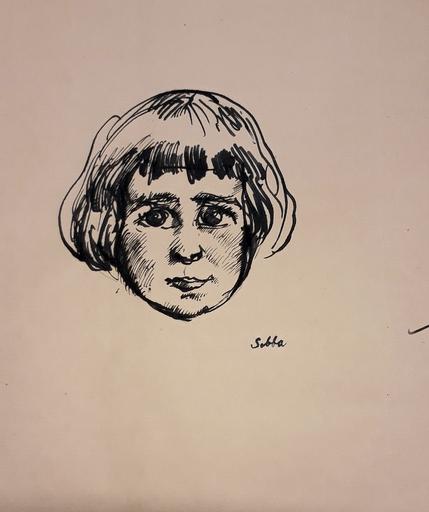 Shalom Siegfried SEBBA - Drawing-Watercolor - Head o a Girl, circa 1920.
