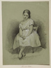 "Theodor PETTER - Dessin-Aquarelle - ""Study of a Little Girl"" by Theodor Petter, ca 1850"