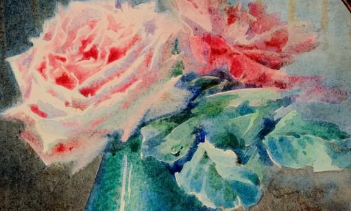 """Blanche ODIN - Dibujo Acuarela - """"LES ROSES ROSES"""""""