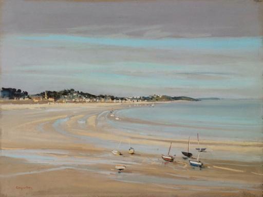 Jacques COQUILLAY - Zeichnung Aquarell - La plage à marée basse