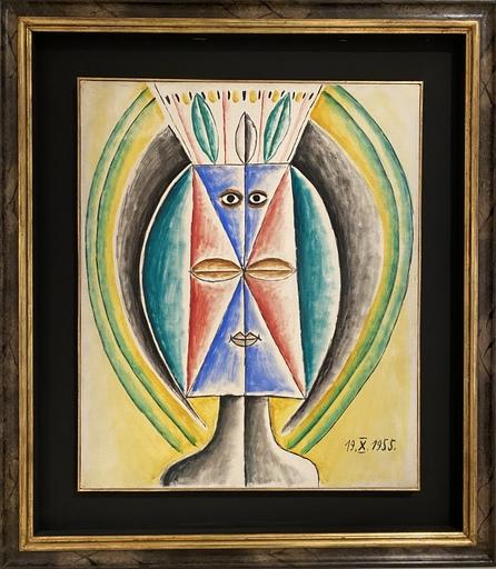 Victor BRAUNER - Gemälde - TETE DE FEMME FEUILLE - CAPITALE DE LA PLANTE