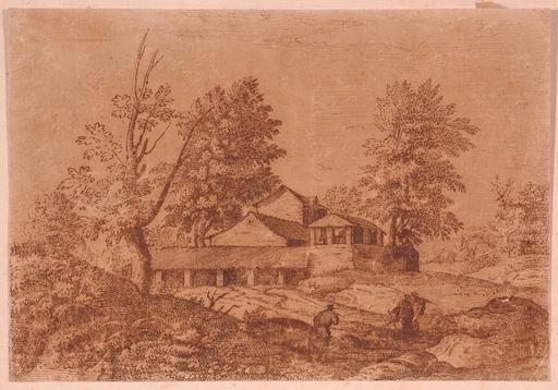 "Martin Hermann FABER (Attrib.) - Dibujo Acuarela - ""Italian Landscape"", Drawing"