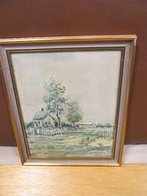 Harry BEHR - Drawing-Watercolor - 2 Häuser in Landschaft