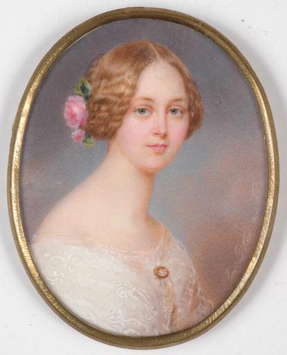 "Emanuel Thomas PETER - Miniature - Emanuel Thomas Peter (1799-1873) ""Portrait of a young lady"""