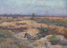 "Ludwig Karl STRAUCH - Dessin-Aquarelle - ""War Landscape"", Early 20th Century"
