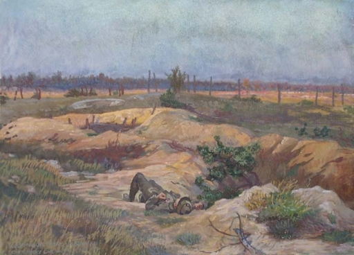 "Ludwig Karl STRAUCH - Disegno Acquarello - ""War Landscape"", Early 20th Century"