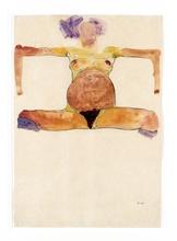 Egon SCHIELE (1890-1918) - Sitzender schwangerer Akt mit gespreizten Armen und Beinen