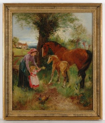 "N. DRUMMOND - Pintura - ""New Acquaintance"", ca.1900, Oil on Canvas"