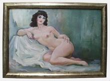 "Josef ADAMICEK - Peinture - ""Young Female Nude"" by Josef Adamicek, ca 1930"