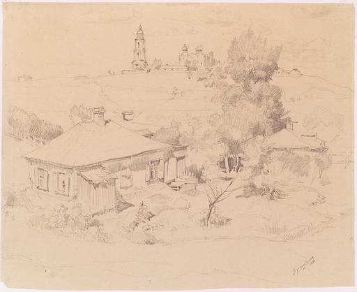 """Sergej A. LUCISKIN - Zeichnung Aquarell - """"Village Motif"""", 1930"""