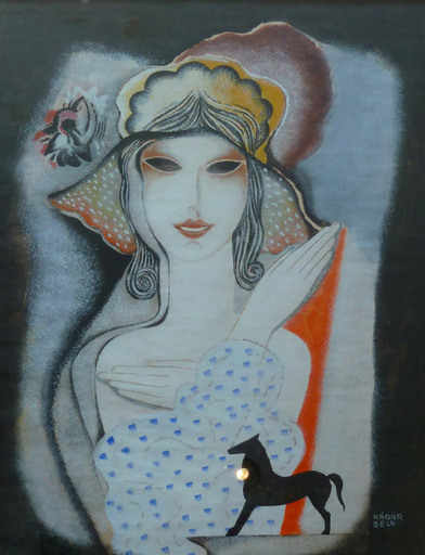 Béla KADAR - Drawing-Watercolor - Lady with Spot Dress