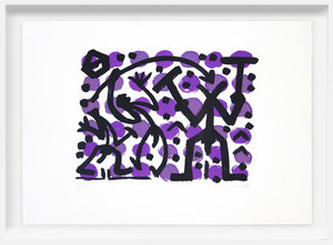 A.R. PENCK - Grabado - Three Fighters on Violet Dots