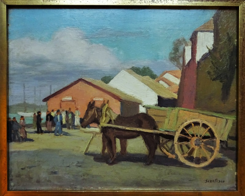 Paul SCORTESCO - Painting - Scène de port vers 1930