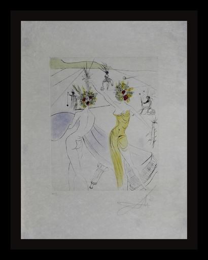 Salvador DALI - Estampe-Multiple - The Hippies Flower Woman at the Piano