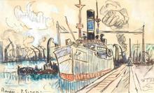 Paul SIGNAC (1863-1935) -  Rouen, le port