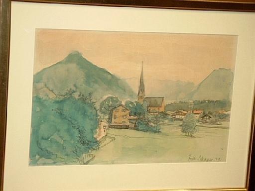 Friedrich SCHAPER - Dibujo Acuarela - Neuhaus am Schliersee