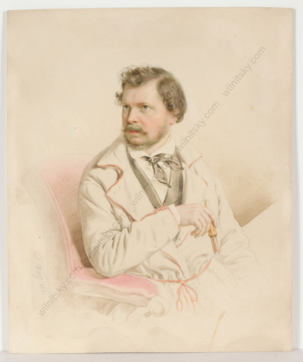 "Franz WOLF - Miniatura - ""Male portrait"", watercolor, 1853"