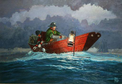 Bruce Elliot ROBERTS - Pintura - Setting The Gill Net Lanterns
