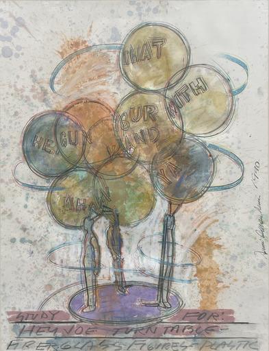 Dennis OPPENHEIM - Zeichnung Aquarell - Study for hey Joe