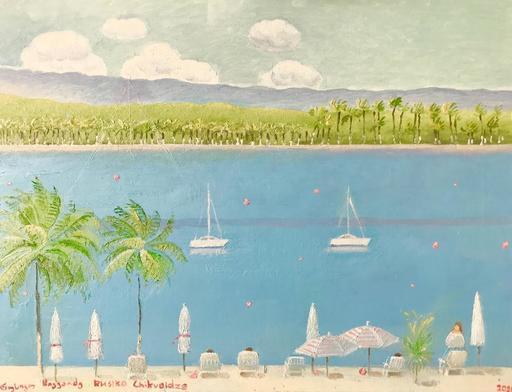 Rusiko CHIKVAIDZE - Peinture - Green Life - Aquamarine Ocean