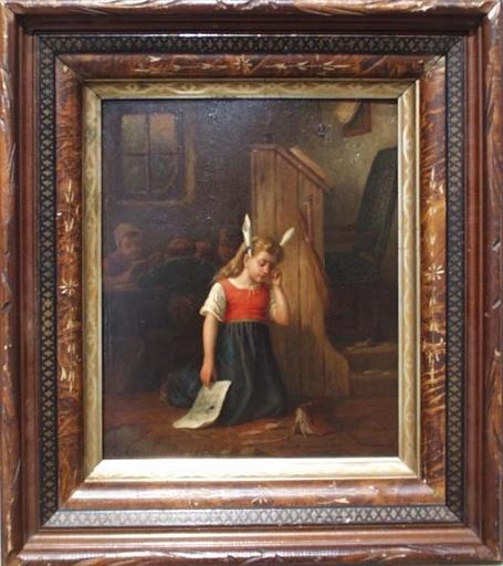 "Joseph GYSELINCKX - Pittura - ""Donkey Ears"" by Jos Gyselinckx (b.1845), Oil on Panel"