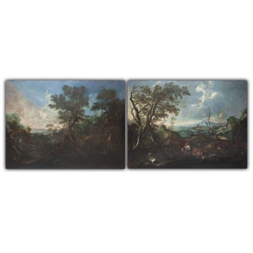 Marco RICCI - Pintura - Coppia di paesaggi con viaggiatori