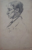 Henryk BERLEWI - Dibujo Acuarela - Boy with Barett / Profile of a Man