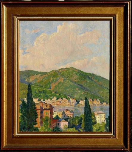 Constantin FONT - Pintura - PAYSAGE AUX CYPRES