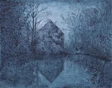 Carlos ESTEBAN - Painting - La maison de l'étang (bleu)    (Cat N° 3452)
