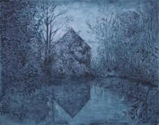 Carlos ESTEBAN - Pintura - La maison de l'étang (bleu)    (Cat N° 3452)