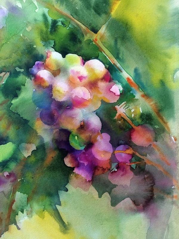 "Galina VINDALOVSKAIA - Drawing-Watercolor - ""Sunny Grape"" pink green original watercolor painting"