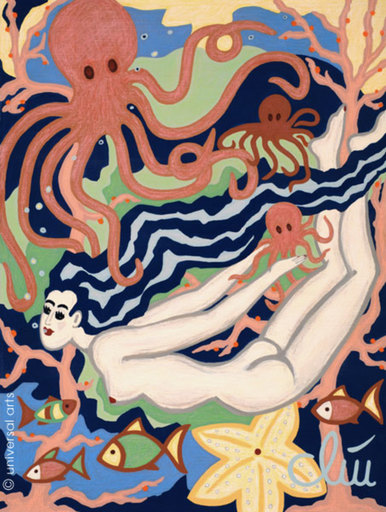 Jacqueline DITT - Painting - Swimming in Octopus's Garden (Akt - nude)