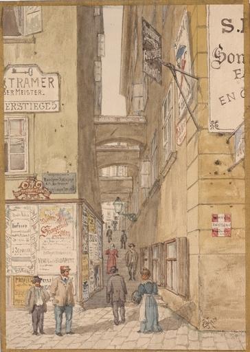 """Gustav VON KOROMPAY - Dibujo Acuarela - """"Fischerstiege in the 1st district in Vienna"""" 1902"""