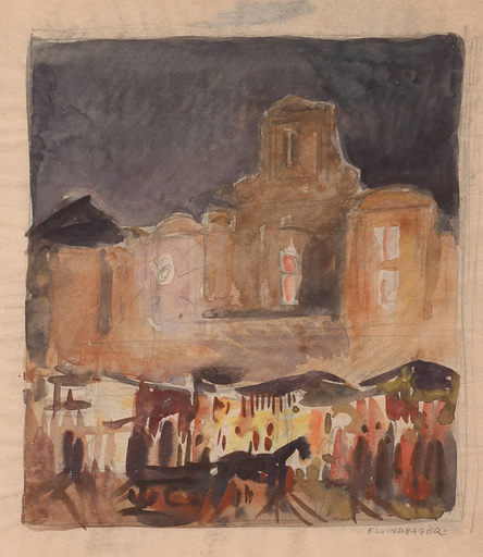 """Franz WINDHAGER - Zeichnung Aquarell - """"Night in Rome"""", Watercolor"""