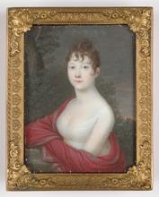 "Bernhard VON GUÉRARD - Dibujo Acuarela - ""Young Lady"" Portrait miniature, 1805/10"
