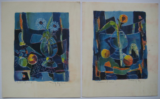 Tony AGOSTINI - Druckgrafik-Multiple - 2 LITHOGRAPHIES SIGNÉES CRAYON EA 2 HANDSIGNED EA LITHOGRAPH