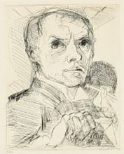 Max BECKMANN - Print-Multiple - Selbsbildnis mit Griffel (Selfportrait with Stylus)