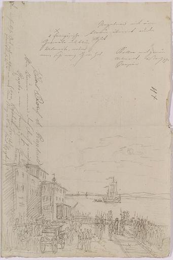 "Johann Nepomuk HOECHLE - Zeichnung Aquarell - ""Napoleonic Scene"", early 19th Century"