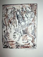 Raphaël DROUART - Dibujo Acuarela - Le cavalier