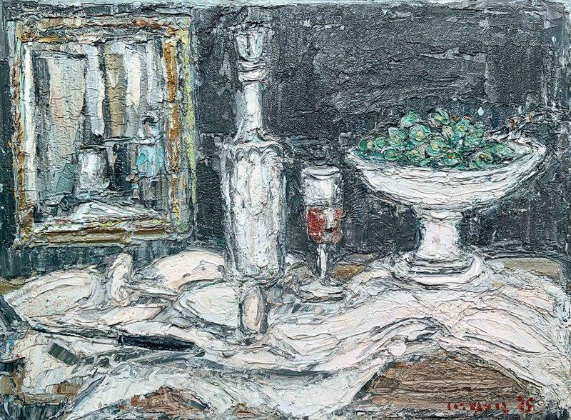 André COTTAVOZ - Peinture - Nature morte au miroir