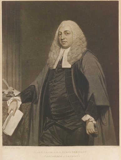 "Charles Howard HODGES - Pittura - ""James Adair, Recorder of London"", Color Mezzotint"