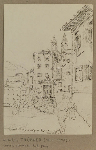 Wilhelm TRÜBNER - Dibujo Acuarela - Castell Savazzo, 1904